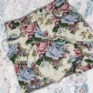 Zara Floral Tapestry Ruffle Fringe Mini Skirt XS